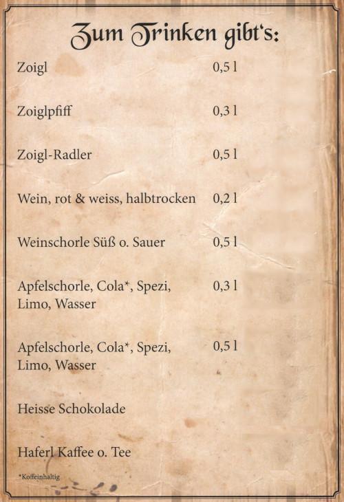 Speisekarte - Getränke